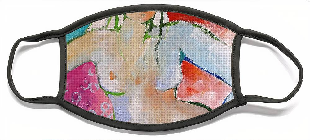 Nude Face Mask featuring the painting Reclining Nude by Linda Monfort