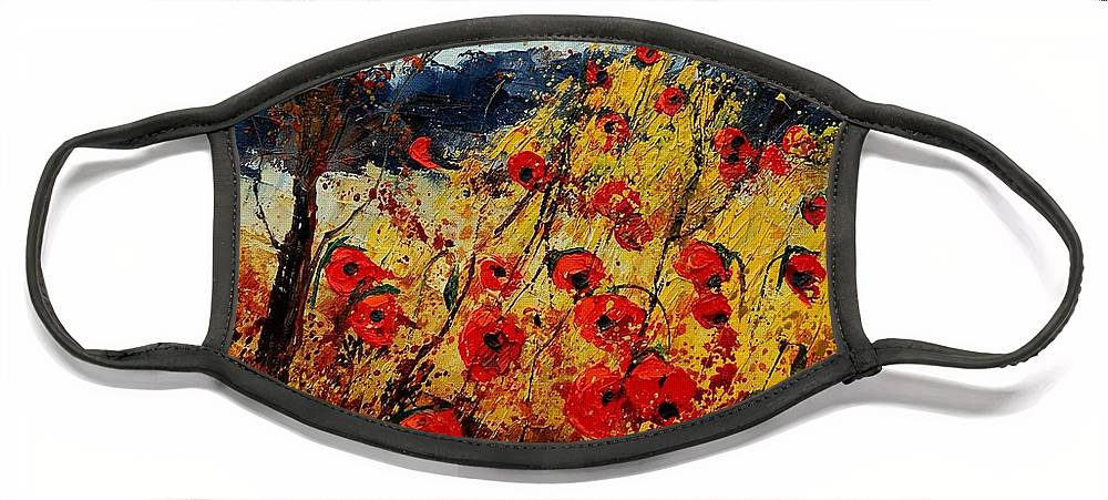 Poppies Face Mask featuring the painting Red Poppies In Provence by Pol Ledent
