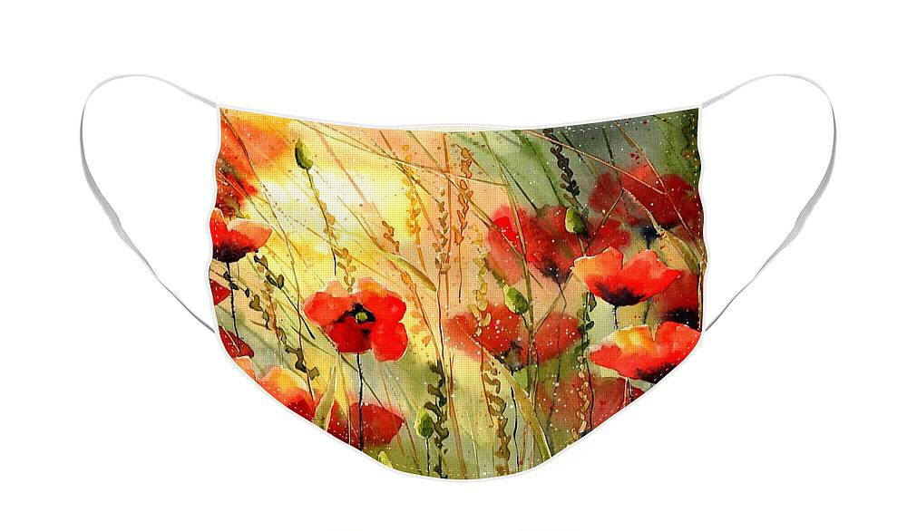 Red Face Mask featuring the painting Red Poppies watercolor by Suzann Sines