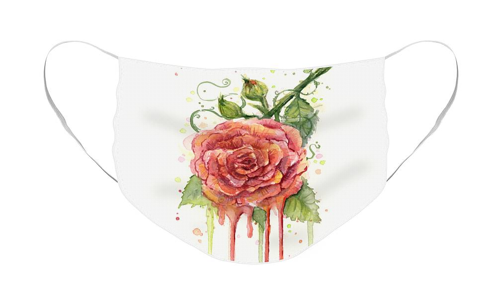 Rose Face Mask featuring the painting Red Rose Dripping Watercolor by Olga Shvartsur