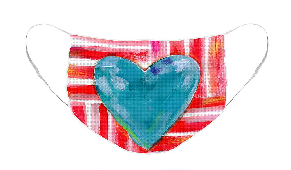 Heart Face Mask featuring the painting Red White and Blue Love- Art by Linda Woods by Linda Woods