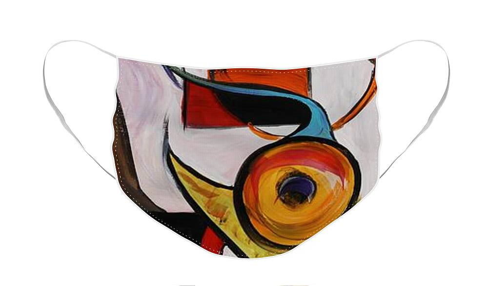 Shapes Face Mask featuring the painting Relationships by Nadine Rippelmeyer