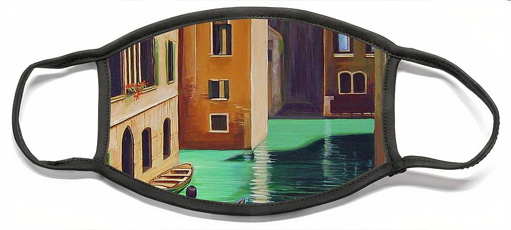Canal In Venice Face Mask featuring the painting Remembering Venice by Hunter Jay