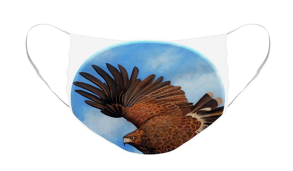 Hawk Face Mask featuring the painting Riding the Wind by Brian Commerford