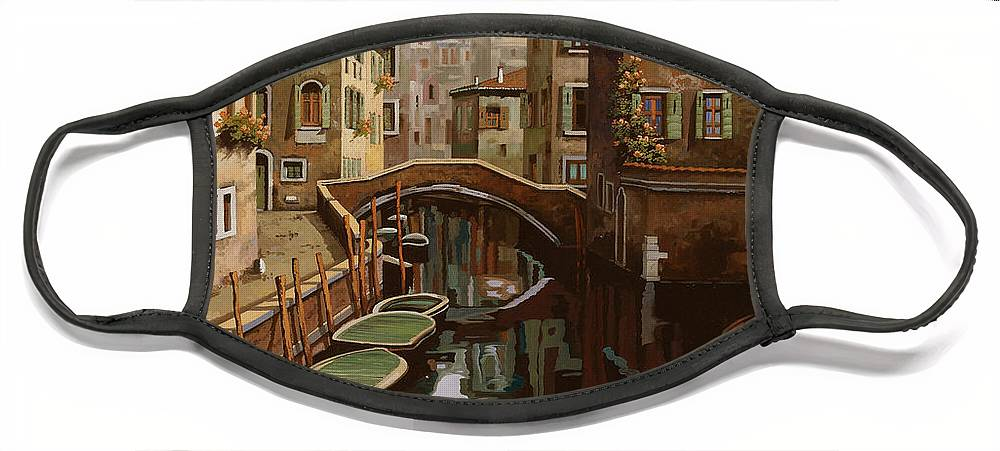 Venice Face Mask featuring the painting Riflesso Scuro by Guido Borelli