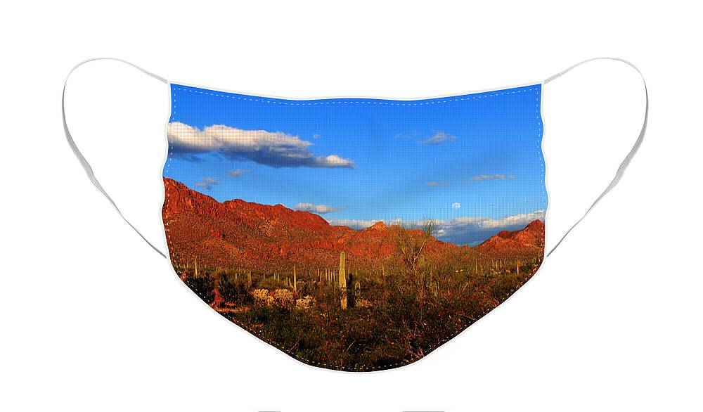 Rising Moon Face Mask featuring the photograph Rising Moon in Arizona by Susanne Van Hulst