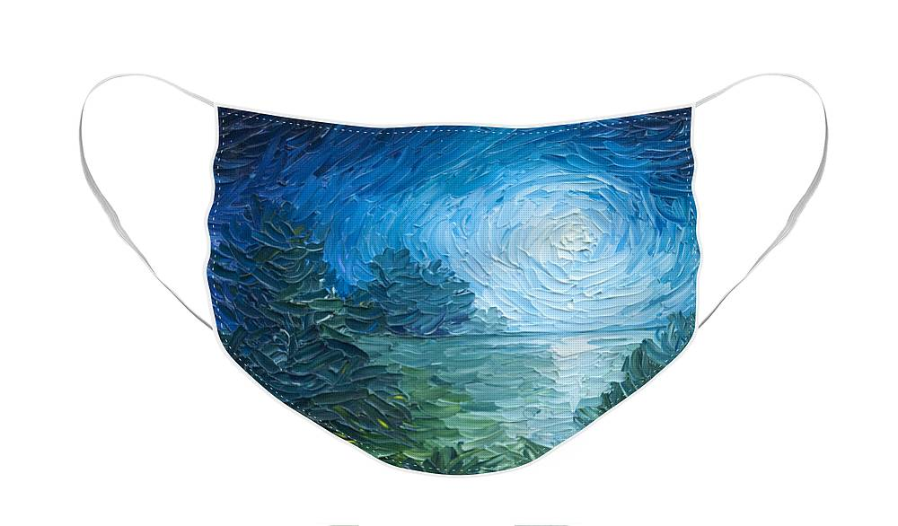 Nature; Lake; Sunset; Sunrise; Serene; Forest; Trees; Water; Ripples; Clearing; Lagoon; James Christopher Hill; Jameshillgallery.com; Foliage; Sky; Realism; Oils; Moon; Moonlight; Reflection; Blue; Lapis Face Mask featuring the painting River Moon by James Christopher Hill