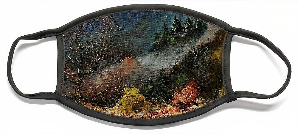 River Face Mask featuring the painting River Semois by Pol Ledent