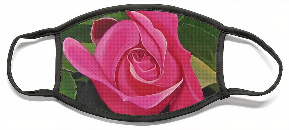 Pink Rose Face Mask featuring the painting Rose Arcana by Hunter Jay