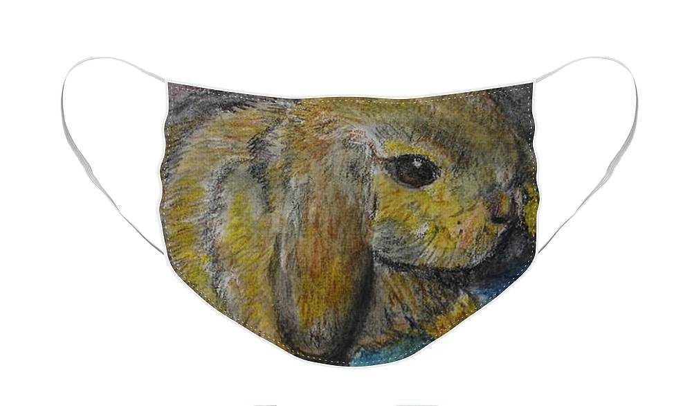 Bunny Face Mask featuring the painting Rosie by Lessandra Grimley