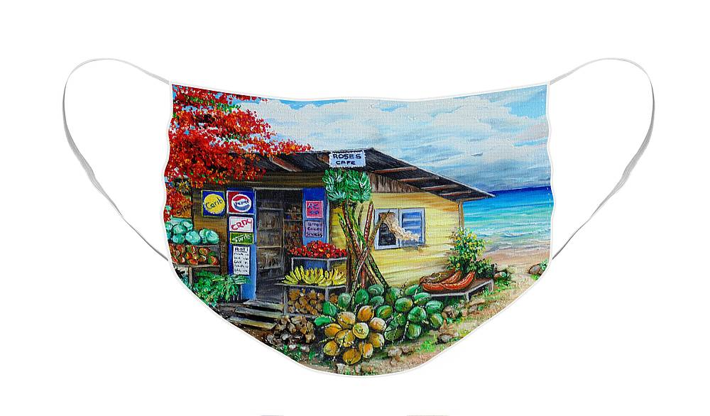 Beach Cafe Face Mask featuring the painting Rosies Beach Cafe by Karin Dawn Kelshall- Best