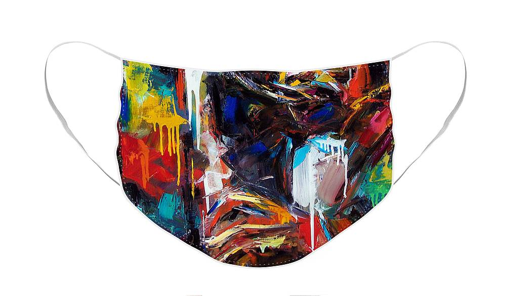 Painting Face Mask featuring the painting Round Midnight by Debra Hurd