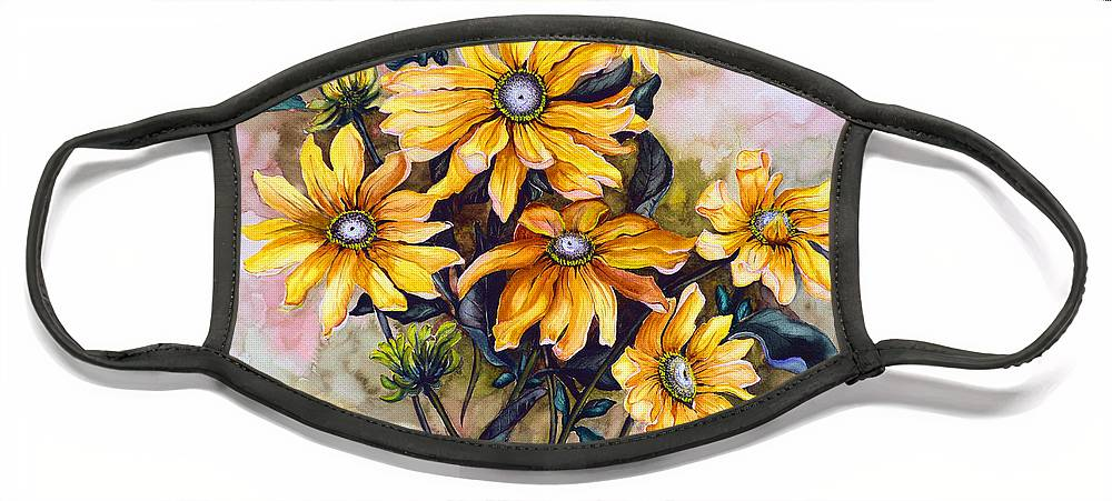 Flower Painting Sun Flower Painting Flower Botanical Painting  Original Watercolor Painting Rudebeckia Painting Floral Painting Yellow Painting Greeting Card Painting Face Mask featuring the painting RUDBECKIA Prairie Sun by Karin Dawn Kelshall- Best