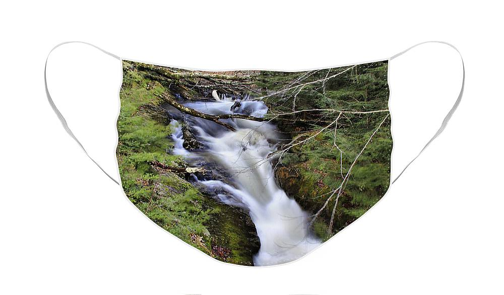 Rural Face Mask featuring the photograph Rushing Montgomery Brook by Deborah Benoit