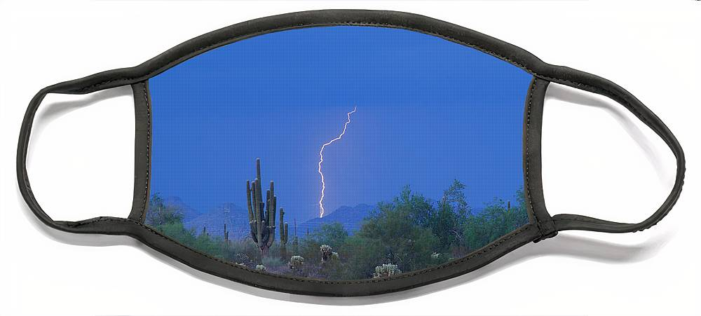 Lightning Face Mask featuring the photograph Saguaro Desert Lightning Strike Fine Art by James BO Insogna