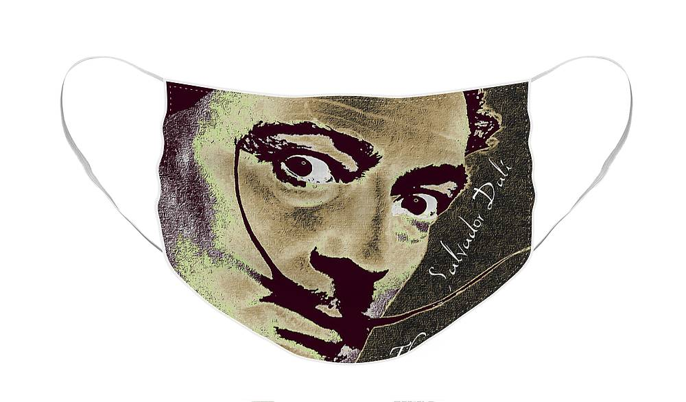 Salvador Dali Face Mask featuring the painting Salvador Dali Pop Art Painting And Signature With Quote by Tony Rubino