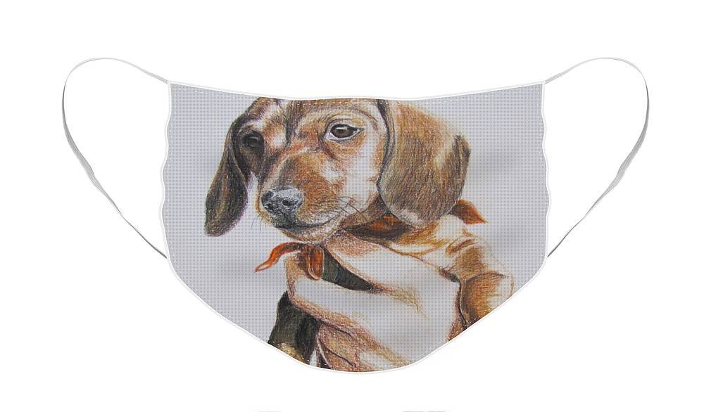 Puppy Face Mask featuring the drawing Sambo by Karen Ilari