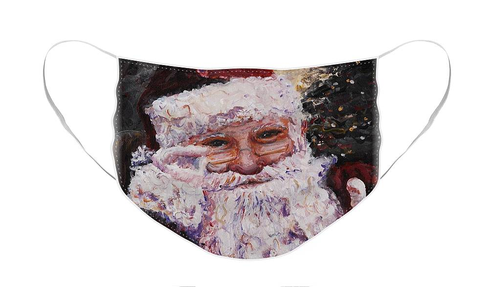 Santa Face Mask featuring the painting Santa Chat by Nadine Rippelmeyer