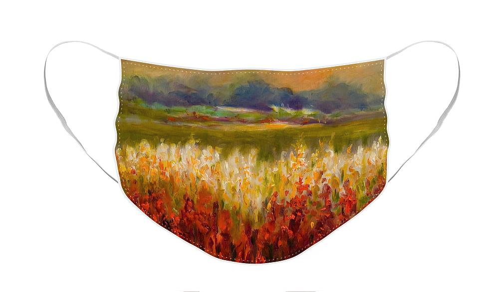 Landscape Face Mask featuring the painting Santa Rosa Valley by Shannon Grissom
