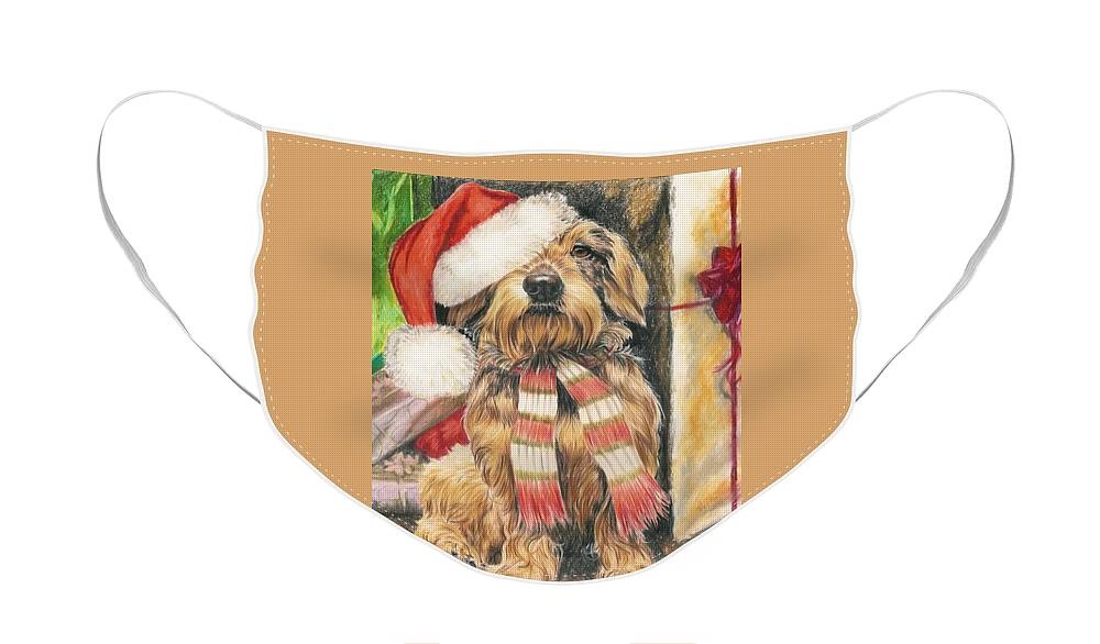 Hound Group Face Mask featuring the drawing Santas Little Yelper by Barbara Keith