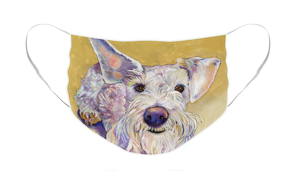 Schnauzer Face Mask featuring the pastel Scooter by Pat Saunders-White