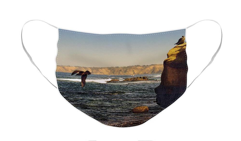 Ocean Face Mask featuring the digital art Sea Cliff by Steve Karol