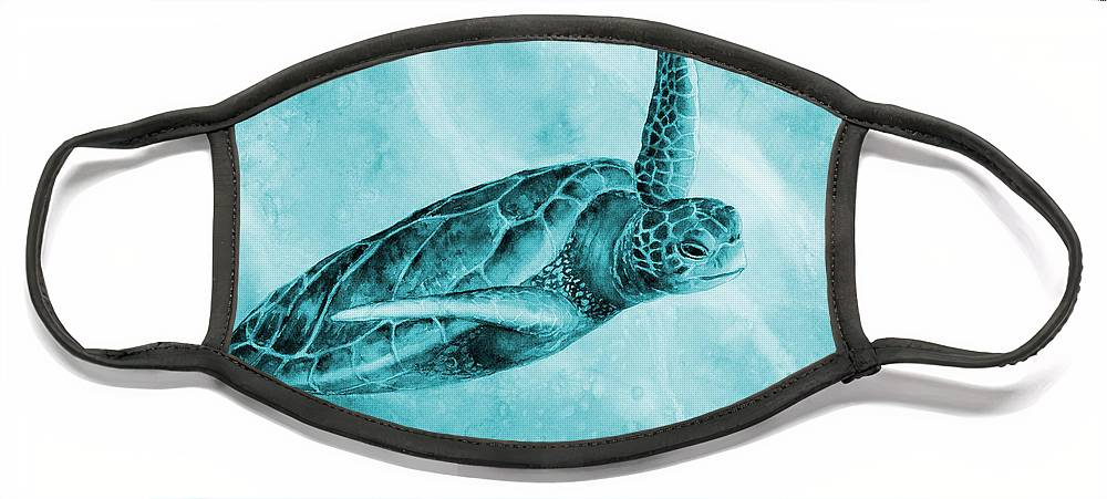 Mono Face Mask featuring the painting Sea Turtle 2 in Blue by Hailey E Herrera