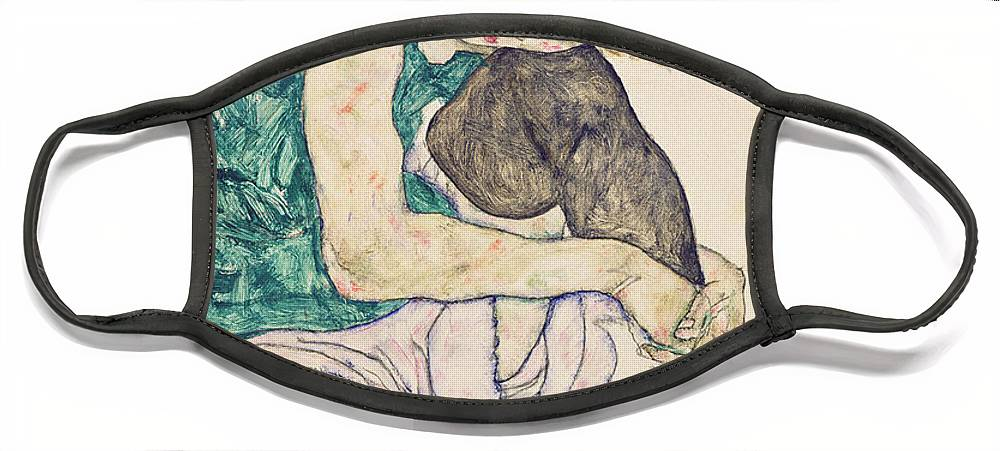 Egon Schiele Face Mask featuring the painting Seated Woman with Bent Knee by Egon Schiele