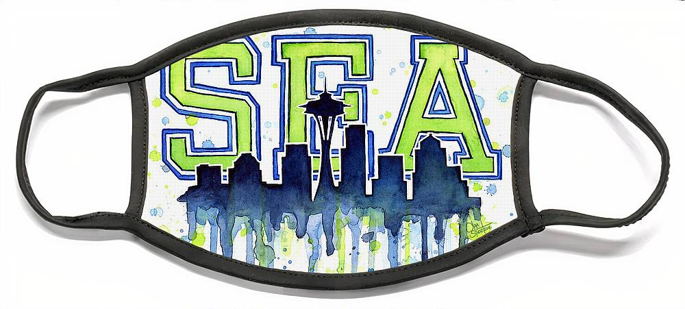 Watercolor Face Mask featuring the painting Seattle Watercolor 12th Man Art Painting Space Needle Go Seahawks by Olga Shvartsur