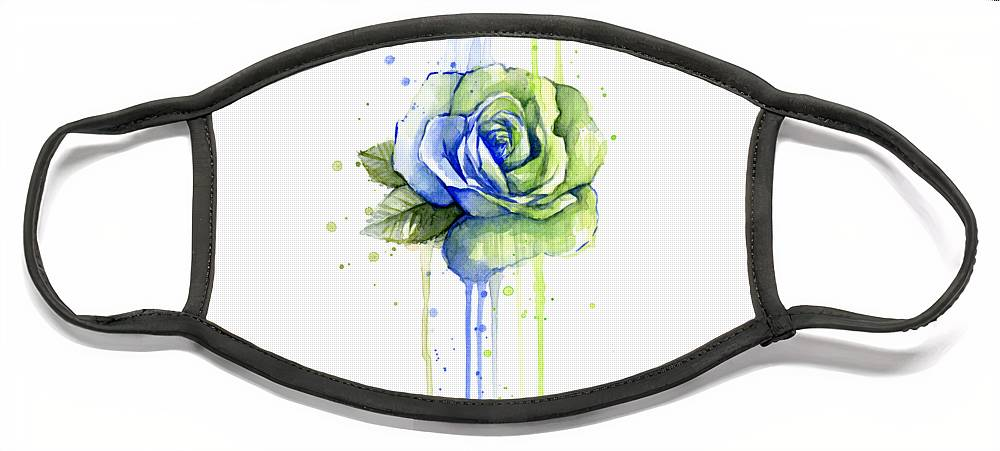 Watercolor Face Mask featuring the painting Seattle 12th Man Seahawks Watercolor Rose by Olga Shvartsur