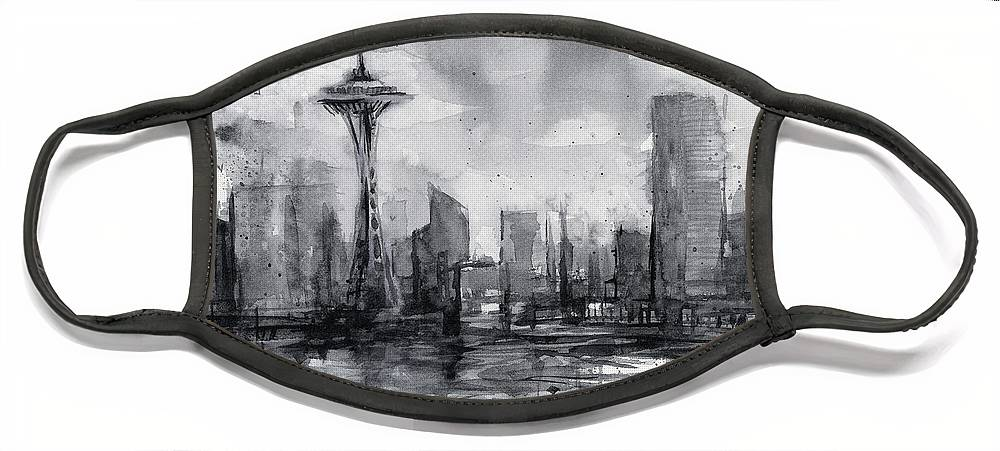 Seattle Face Mask featuring the painting Seattle Skyline Painting Watercolor by Olga Shvartsur