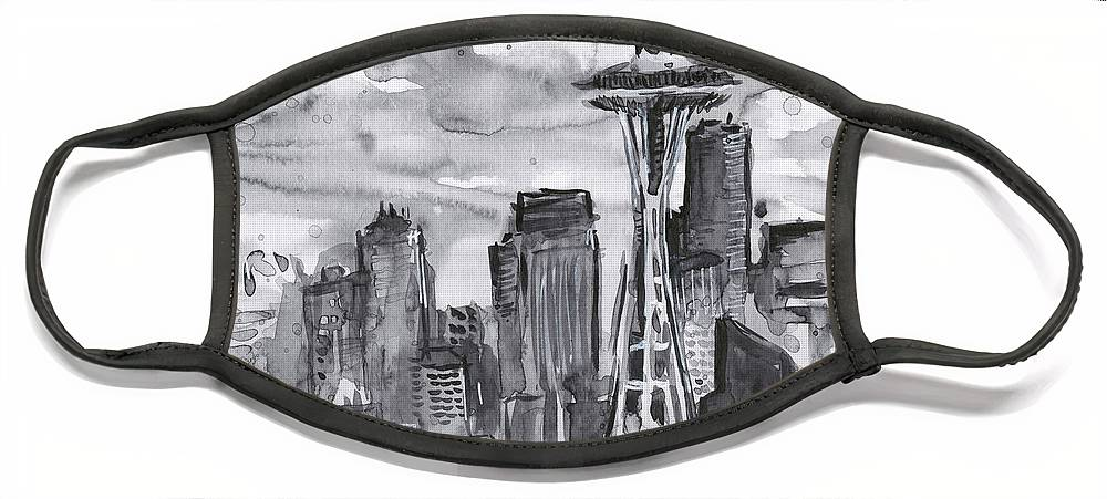 Seattle Face Mask featuring the painting Seattle Skyline Space Needle by Olga Shvartsur