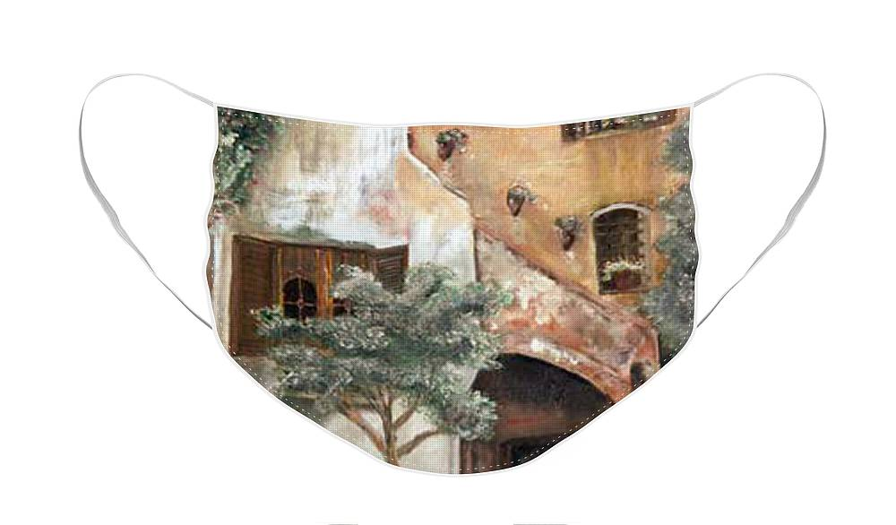 Building Face Mask featuring the painting Secret Garden by CJ Rider