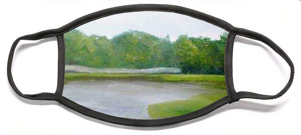 Landscape Face Mask featuring the painting Serene Vista by Sheila Mashaw