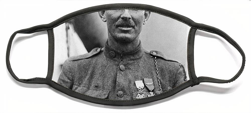Alvin York Face Mask featuring the photograph Sergeant York - World War I Portrait by War Is Hell Store