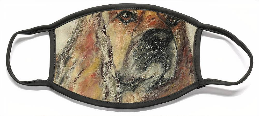 Dog Face Mask featuring the drawing Serious Intent by Cori Solomon