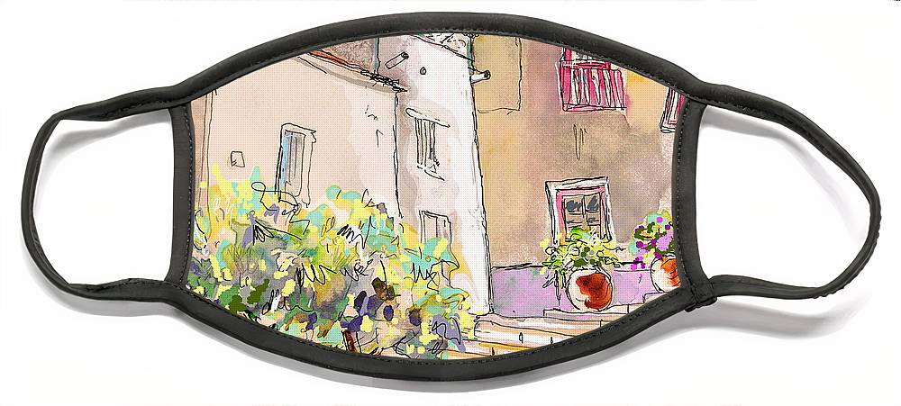 Portugal Paintings Face Mask featuring the painting Serpa Portugal 36 by Miki De Goodaboom