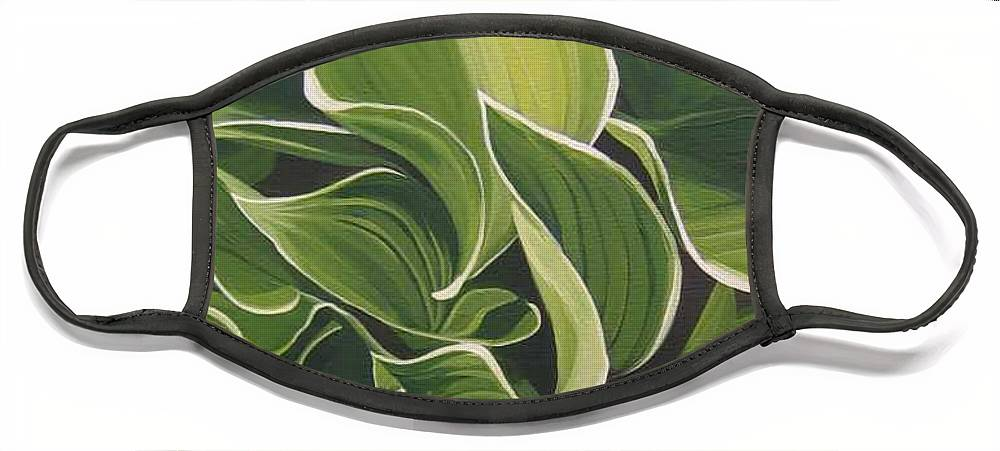 Closeup Of Hosta Plant Face Mask featuring the painting Shapes that Go Together by Hunter Jay