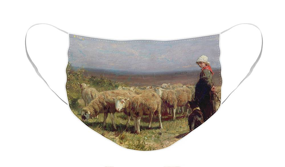 Shepherdess Face Mask featuring the painting Shepherdess by Anton Mauve