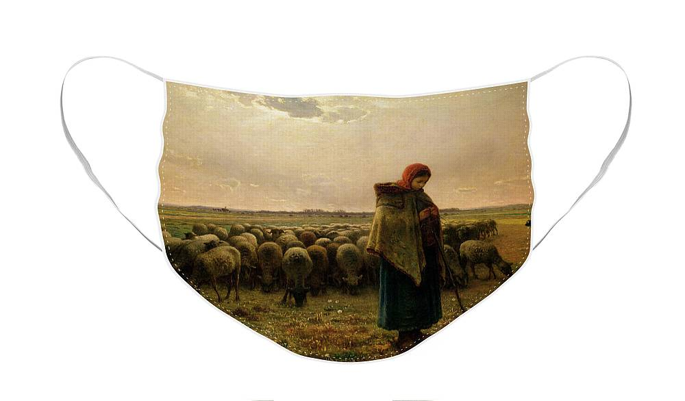 Shepherdess Face Mask featuring the painting Shepherdess with her Flock by Jean Francois Millet