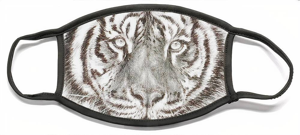 Big Cat Face Mask featuring the drawing Shimmer by Barbara Keith
