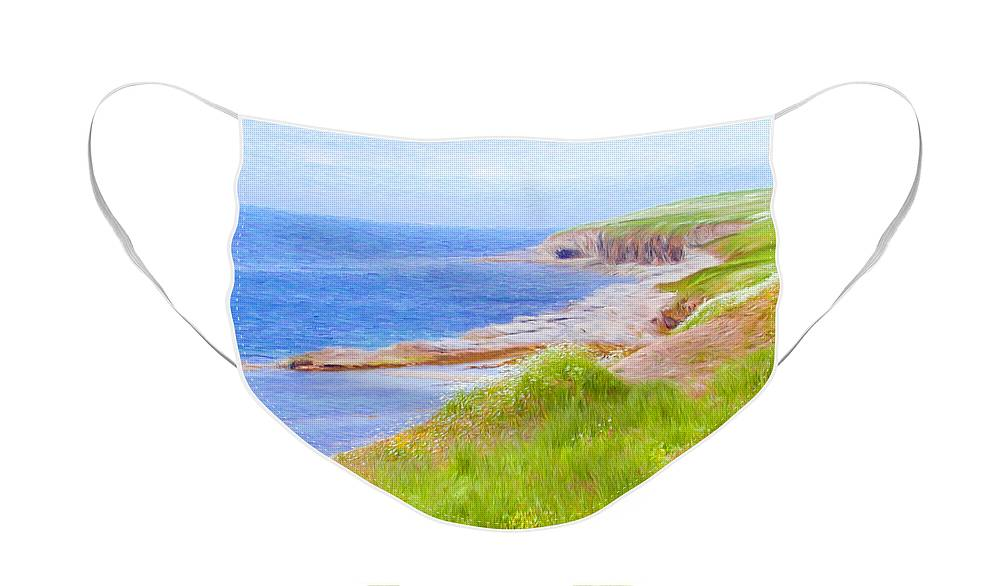 Canadian Face Mask featuring the painting Shores of Newfoundland by Jeffrey Kolker