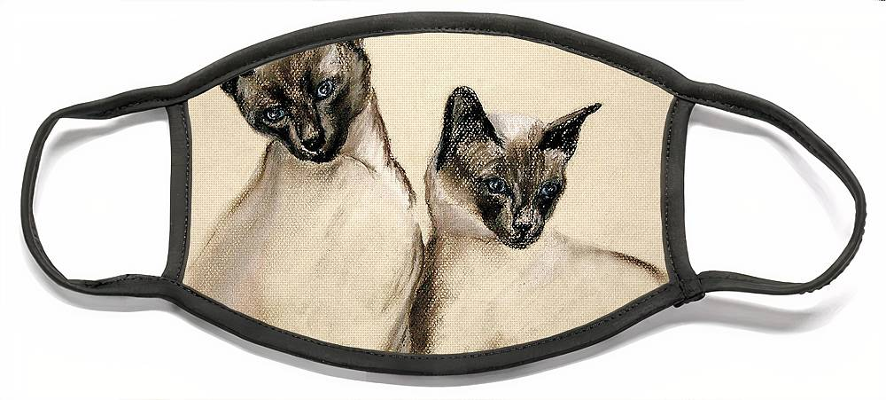 Cat Face Mask featuring the drawing Sibling Love by Cori Solomon