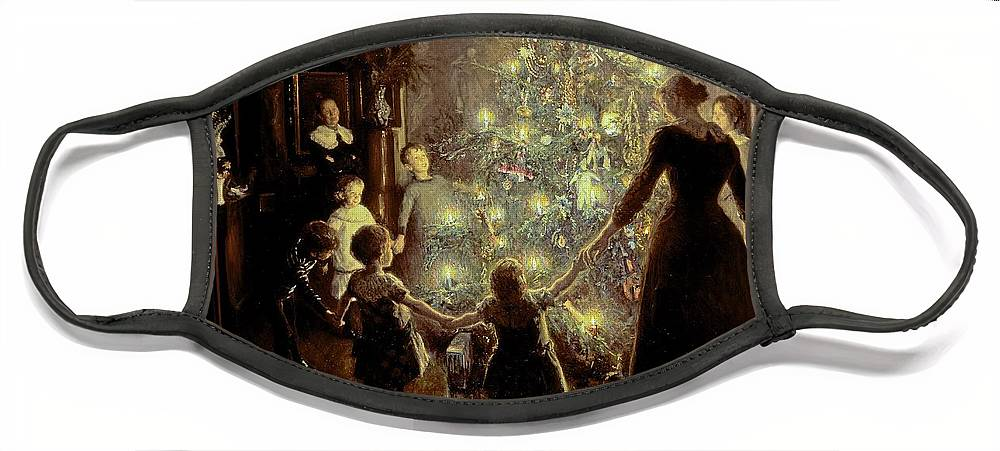 Xmas Face Mask featuring the painting Silent Night by Viggo Johansen