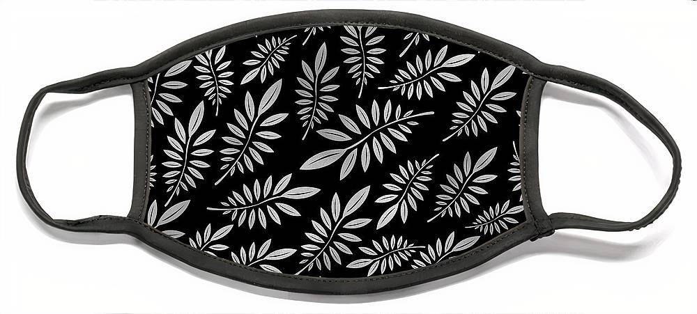Pattern Face Mask featuring the digital art Silver Leaf Pattern 2 by Stanley Wong