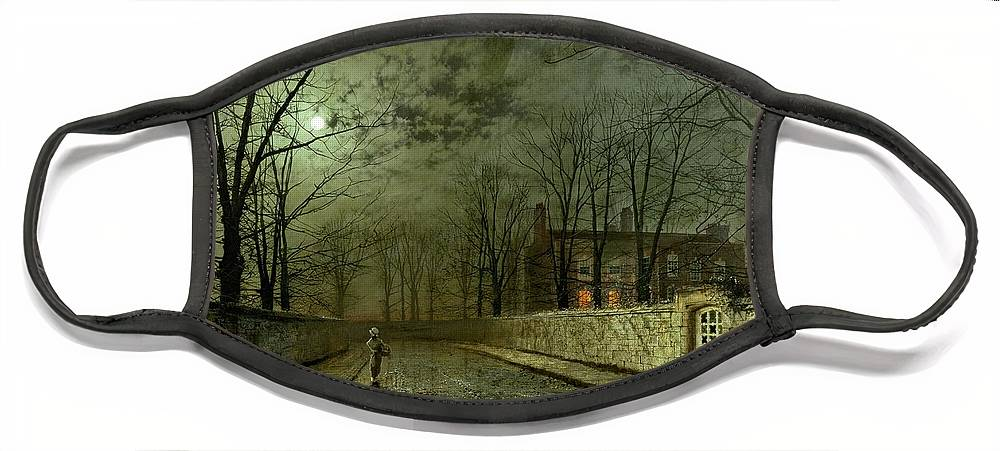 Silver Moonlight Face Mask featuring the painting Silver Moonlight by John Atkinson Grimshaw