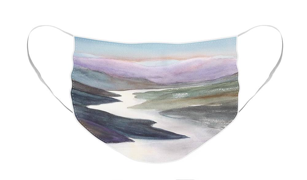 River Face Mask featuring the painting Silver Stream by Ruth Kamenev