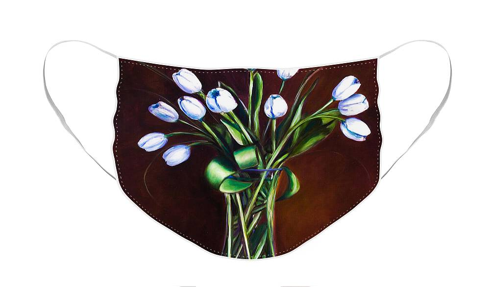 Shannon Grissom Face Mask featuring the painting Simply Tulips by Shannon Grissom