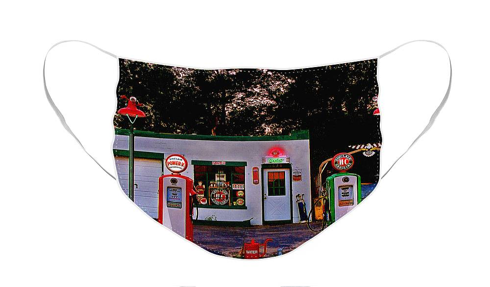 Gas Station Face Mask featuring the photograph Sinclair by Steve Karol