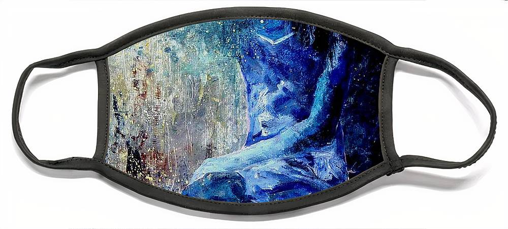 Woman Girl Fashion Face Mask featuring the painting Sitting Young Girl by Pol Ledent